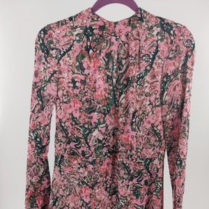 H&M floral pink, green and white long sleeve dress